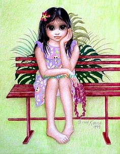 "Big Eyes ""Late Arrival"" - by artist Margaret Keane Big Eyes Paintings, Eyes Artwork, Paintings Famous, Big Eyes Margaret Keane, Keane Big Eyes, Eye Pictures, Pictures To Paint, Margret Keane, Keane Artist"