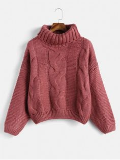 2b29ac583d Drop Shoulder Cable Knit Turtleneck Chunky Sweater