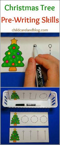 childcareland blog: Christmas pre-writing printable.