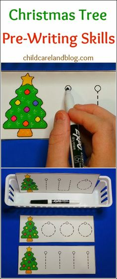 childcareland blog: Christmas pre-writing printable.