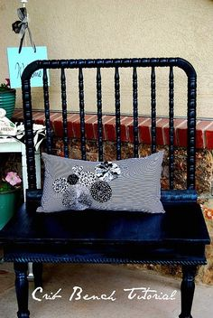 Idea's of what to use an old drop-side crib for : Crib Bench