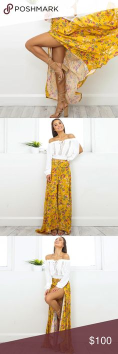 Boho Yellow Floral Button Split Front Maxi Skirt Fun, chic floral pattern, cute boho buttons down the front with a slit up the front and a gathered layer so the skirt has a more flowy look. Super comfortable, high quality rayon fabric.   ❌ Sorry, no trades.  fairlygirly fairlygirly Skirts Maxi