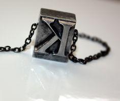 lead type monogram necklace