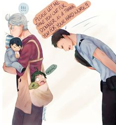 What's Up, Doc — Daisuga Daycare/ Police officer au :) *whispers*. Haikyuu Kageyama, Haikyuu Funny, Haikyuu Fanart, Daisuga, Kuroken, Kagehina, Animes Emo, Fanarts Anime, Hinata