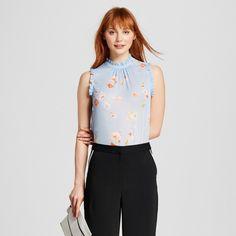 Women's Ruffle Trim Shell Blue Floral XL - Who What Wear