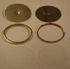 7266V.G  Glasmalbrosche oval, 60x45mm, Rahmen vergoldet - besteht aus Platine, mit Rahmen und Glasscheibe