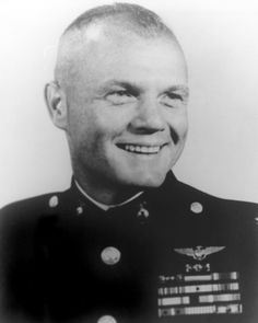 John Herschel Glenn, Jr., (born Jul 18, 1921) former US Marine Corps pilot, astronaut, & US Senator. In World War II, he enlist in US. Army Air Corps; however, in March 1942 he enlisted as a US Navy aviation cadet, then reassigned to US Marine Corps. He saw action over Marshall Islands, where he attacked anti-aircraft batteries & dropped bombs on Maloelap Atoll. He flew his Panther in 63 combat missions during Korean War. Later, Glenn flew a second Korean tour of 27 missions in F-86F Sabre.