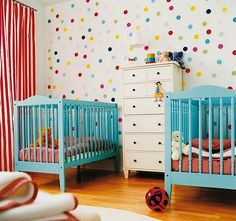 polka dot nursery for I love the bright cribs and the polka dot walls. Nursery Twins, Nursery Room, Nursery Decor, Nursery Ideas, Small Twin Nursery, Twin Nursery Gender Neutral, Decor Room, Project Nursery, Room Decorations
