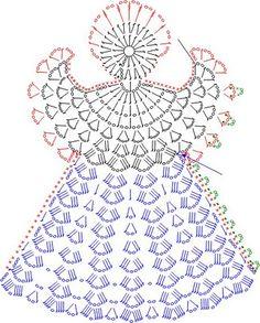 Tricô e Crochê - Knitting and Crochet: Enfeite de Natal em Crochet - Anjo Natalino Crochet Angel Pattern, Crochet Angels, Crochet Diagram, Crochet Chart, Thread Crochet, Filet Crochet, Crochet Motif, Crochet Flowers, Crochet Fabric