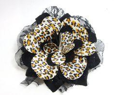 Rockabilly Leopard Hair flower by MissLizzyD on Etsy, $13.00