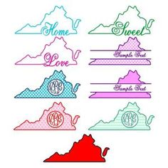 Old Dominion Virginia Home State. Nine vector art images decal patterns. State with the Heart Love Home Y'all Monogram Round Circle Frame. Cuttable Design Cut File. Vector, Clipart, Digital Scrapbooking Download, Available in JPEG, PDF, EPS, DXF and SVG. Works with Cricut, Design Space, Sure Cuts A Lot, Make the Cut!, Inkscape, CorelDraw, Adobe Illustrator, Silhouette Cameo, Brother ScanNCut and other compatible software.