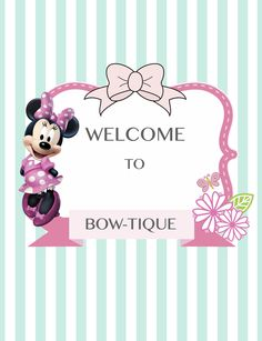 Minnie Mouse welcome sign