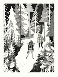 """Pine"" print by liekeland - black and white forest print"