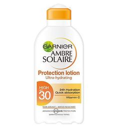 Ambre Solaire Garnier Ambre Solaire Protection Lotion High 24 Advantage card points. Garnier Ambre Solaire Protection Lotion SPF 30 has advanced UVA and UVB Photostable filters to protect the skin. Its non sticky, non greasy formula is easy-to-apply and leave http://www.MightGet.com/february-2017-1/ambre-solaire-garnier-ambre-solaire-protection-lotion-high.asp