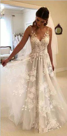 8a089b53886 romantic A line v neck white long wedding dress with embroidery Свадебные  Платья Мечты