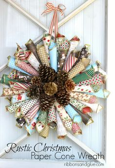 DIY Rustic Christmas Paper Cone Wreath makes such a gorgeous Holiday Statement! The Gold Glitter Pine Cones in the center add such a unique touch too!