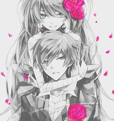 """""""Miku and Kaito maybe?"""" No it's Miku and Mikuo!! The colored version is better."""