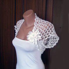 Wedding White Shrug Bolero Crochet Lace Bridal by KnittedSmiles, $41.00