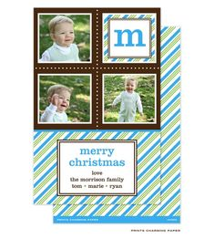 Peppermint Turquoise Striped Holiday Card #TwiceasNiceSale #SugarPress