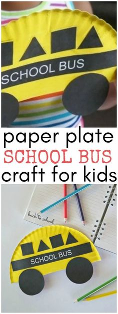 Back to School Crafts for Kids- Paper Plate School Bus Shapes Craft - A fun school bus art project! School Bus Art, School Bus Crafts, Back To School Crafts For Kids, Back To School Art, Daycare Crafts, Classroom Crafts, School Fun, Preschool Crafts, Craft Kids