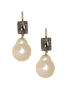 Sylva & Cie 18K Yellow and White Gold Rough Cut Diamond and Pearl Drop Earrings with a Rectangular Rough Cut Diamond and Baroque Pearl Drop. Available at London Jewelers!