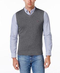 TOMMY HILFIGER Tommy Hilfiger Men'S Signature Solid V-Neck Sweater Vest. #tommyhilfiger #cloth # sweaters