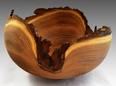 Large Artistic Black Locust Bowl with Bark by NorwegianWoodGallery
