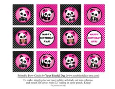 PRINTABLE Girl Panda Party Circles Personalized by yourblissfulday