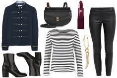 Black leather pants, striped shirt & boots - Styled by Manon