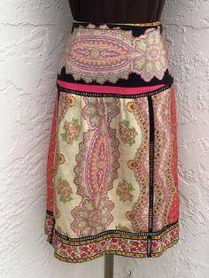 Anthropologie Plenty Tracy Reese size 8 orange black paisley silk skirt  #Plenty #ALine