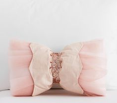 The Emily & Meritt Embellished Bow Shaped Decorative Pillow | Pottery Barn Kids
