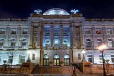 Milwaukee Public Library - lit so beautifully at night!