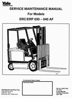 Original Illustrated Factory Workshop Service Manual for Yale Electric Forklift TruckOriginal factory manuals for Yale Forklift Trucks, contains high quality images, circuit diagrams and instructions to help you to operate and repair your truck. All Manuals Printable and contains Searchable TextCove