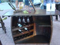 Wine Bar Up-Cycled from Aged Oak Wine Barrels on Etsy, $915.00