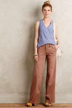 Hyphen Chino Wide-Leg Flares by Pilcro Casual Dress Outfits, Summer Outfits, Casual Attire, Fashion Pants, Fashion Outfits, Womens Fashion, Fashion Fall, Plus Size Yoga, Anthropologie Clothing