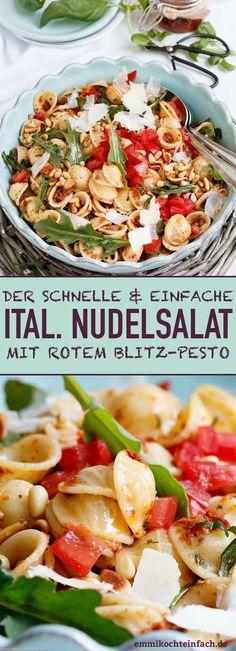 Italienischer Nudelsalat mit rotem Blitz-Pesto - Das einfache Rezept in nur 25 Minuten gezaubert - www.emmikochteinfach.de