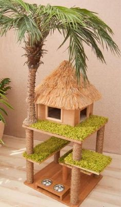 Cat house with palm tree house toy rooms diyforpets cats . - Cat house with palm tree house tree Toy Rooms diyforpets cat house with pal - Diy Cat Tree, Cat Towers, Cat Playground, Cat Room, Cat Condo, Pet Furniture, Furniture Buyers, Furniture Websites, Barbie Furniture