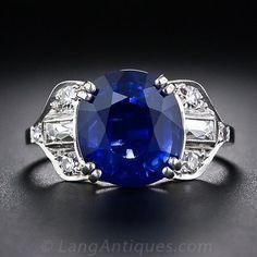 5.50 Carat Art Deco Sapphire and Diamond Ring, ca. 1920-30s