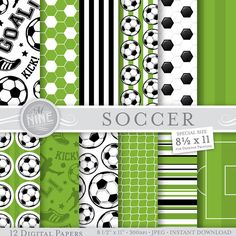 SOCCER Digital Paper: Soccer Printable Pattern by MNINEDESIGNS
