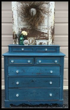 Flow Blue Beauty - Embracing Change Miss Mustard Seed's Milk Paint in Flow Blue and knobs by D. Lawless Hardware