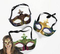 One Plastic Mardi Gras Masks With Jewel - Color will vary @ niftywarehouse.com #NiftyWarehouse #Halloween #Scary #Fun #Ideas