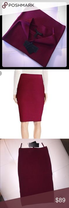 New with Tags. BCBG bandage skirt in XXS Beautiful and classy, stretchy and body hugging Deep cranberry or wine colored skirt in XXS. New with tags and never been worn. Fall right on the knee level like in the photo. Very rare color. BCBGMaxAzria Skirts Midi