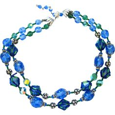 Vendome Double Strand Sea Blue Green Crystal Necklace