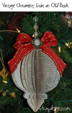 Vintage-Christmas-Ornament...This ornament is made from an old book...