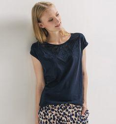 T-shirt+brodé+Femme