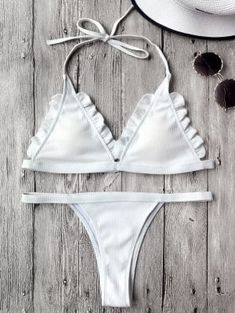 Rib Texture Frilled Thong Bikini Set - White L