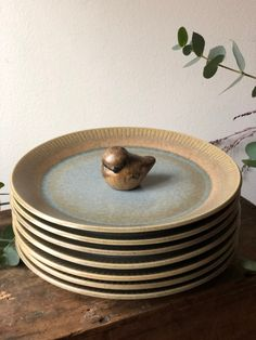 Excited to share this item from my shop: Vintage Danish Knabstrup plates set of 6 midcentury modern Blue Tones, Plate Sets, Danish Design, Midcentury Modern, Green And Grey, Mid Century, Etsy Shop, Plates, Lights