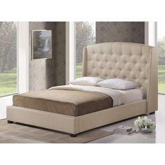 Ipswich Light Beige Linen Modern Platform Bed | Overstock.com Shopping - Great Deals on Baxton Studio Beds