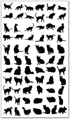 100 silhouettes of big and small catsntnt via