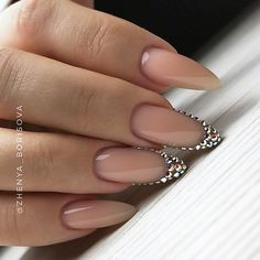 Almond Nails with Crystal Accents